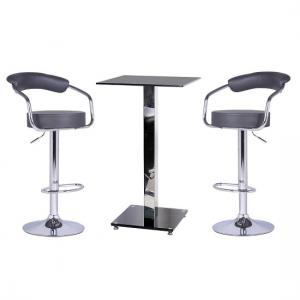 Spice Bar Table In Black Glass And 2 Zenith Grey Bar Stools