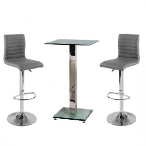 Spice Bar Table In Clear Glass With 2 Grey Ripple Bar Stools