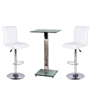 Spice Bar Table In Clear Glass With 2 White Ripple Bar Stools