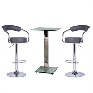 Spice Bar Table In Clear Glass And 2 Zenith Grey Bar Stools
