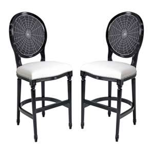 Spiders Web Georgian Black Short Bar Stool In Pair