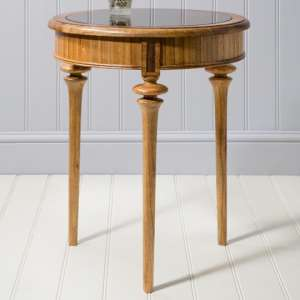 Spire Mindy Ash Wooden Circular Side Table In Walnut