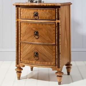 Spire Wooden Bedside Cabinet In Walnut With 3 Drawers