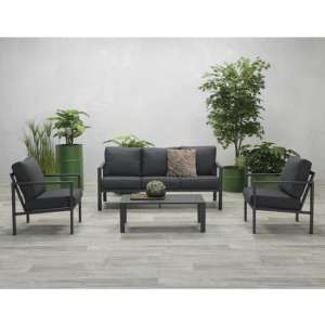 Sprake 3 Seater Sofa Group With 2 Armchairs In Carbon Black