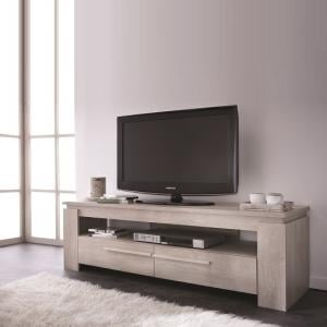 Portland Wooden TV Stand In Champagne Oak With 2 Drawers