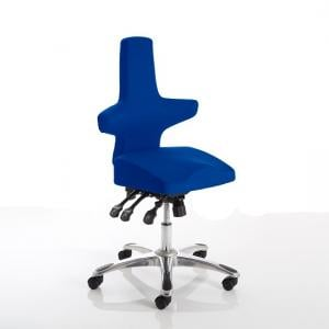 Stacy Home Office Chair In Blue With Chrome Base
