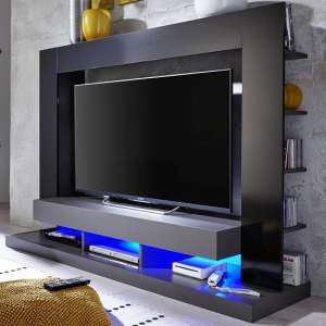 Stamford Entertainment Unit In Black Gloss Fronts With Shelving