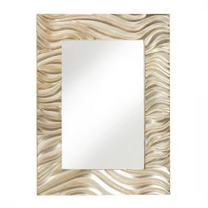 Stamford Wave Style Wall Mirror In Champagne Gold