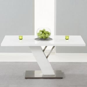Stanton Dining Table In White High Gloss With Brushed Metal Base