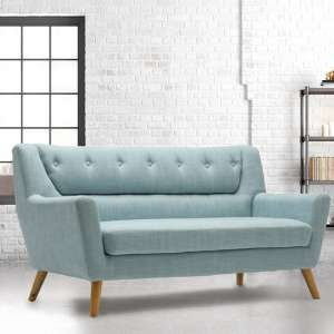 Stanwell 3 Seater Sofa In Duck Egg Blue Fabric With Wooden Legs