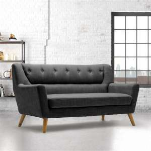 Stanwell 3Seater Sofa In Grey Fabric With Wooden Legs