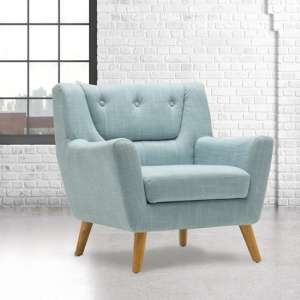 Stanwell Sofa Chair In Duck Egg Blue Fabric With Wooden Legs