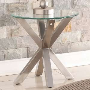 Starz Glass Lamp Table Round In Clear With Stainless Steel Legs