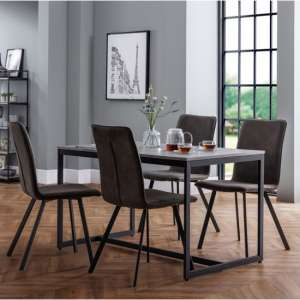 Staten Dining Set With 4 Monroe Charcoal Grey Suede Chairs