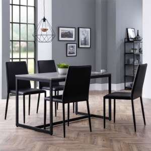 Staten Dining Set In Concrete With 4 Jazz Black Leather Chairs