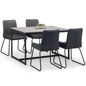 Staten Dining Set In Concrete With 4 Soho Black Leather Chairs
