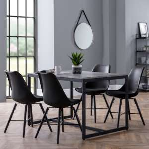 Staten Dining Set In Concrete Effect With 4 Kari Black Chairs