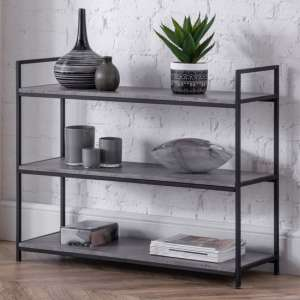Staten Low Metal Bookcase In Concrete Effect