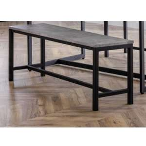 Staten Metal Dining Bench In Concrete Effect