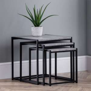 Staten Metal Set Of 3 Nesting Tables In Concrete Effect