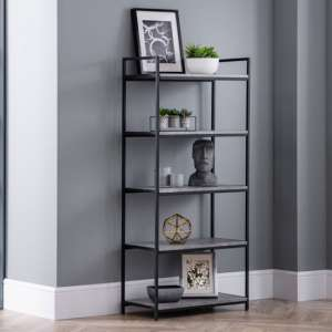 Staten Tall Metal Bookcase In Concrete Effect