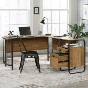 Stationmaster Wooden L-Shaped Laptop Desk In Etched Oak