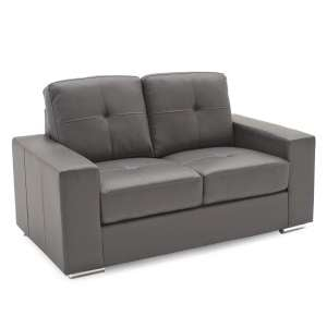 Stavern 2 Seater Sofa In Grey Bonded Leather With Chrome Base