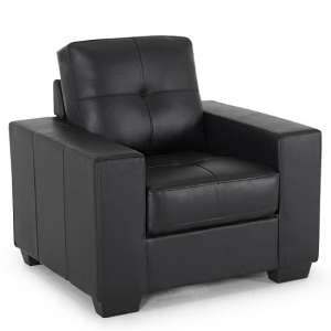 Stavern Sofa Chair In Black Bonded Leather With Wooden Base