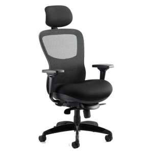Stealth Shadow Ergo Headrest Office Chair In Black Airmesh Seat