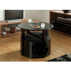 Stefan Stowaway Black Gloss Round Dining Table And 4 Stool