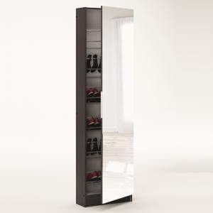 Steiner Mirrored Shoe Cabinet In White And Ebony