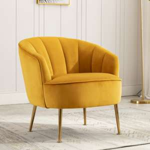 Stelloma Velvet Upholstered Tub Chair In Apricot