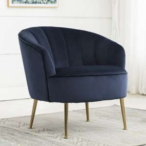 Stelloma Velvet Upholstered Tub Chair In Navy