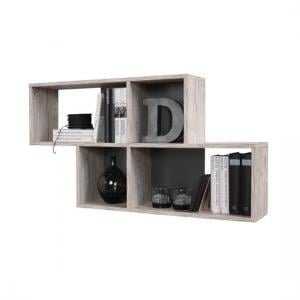 Stella Wall Mounted Display Shelf In Sand Oak And Anthracite