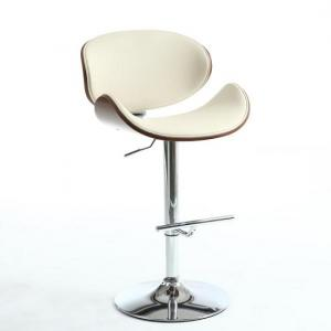 Stinson Bar Stool In Cream PU And Walnut With Chrome Base