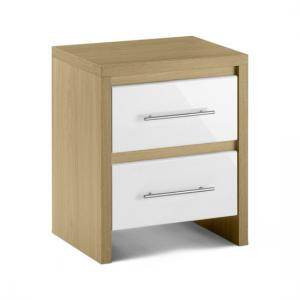 Elite 2 Drawer Bedside Cabinet in Oak and White High Gloss