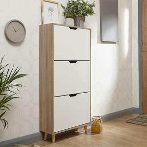 Stockholm Wooden 3 Tier Shoe Storage Cabinet In White And Oak