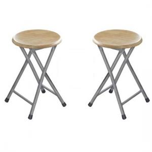 Hamstring Folding Stool In Natural Rubber Wood in A Pair