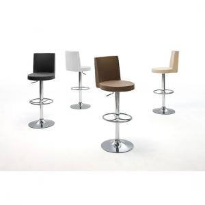 Jens Bar Stool In Faux Leather With Chrome Base