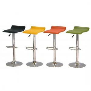 Stratos Bar Stool In Yellow PVC and Chrome Base In A Pair_2