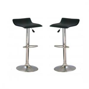 Stratos Bar Stool In Black PVC and Chrome Base In A Pair