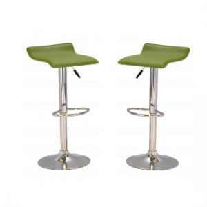 Stratos Bar Stool In Green PVC and Chrome Base In A Pair