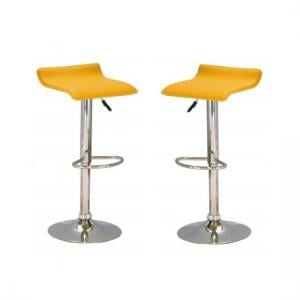 Stratos Bar Stool In Yellow PVC and Chrome Base In A Pair