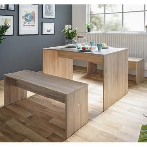 Stratus Wooden Dining Table In Sonoma Oak With 2 Dining Benches