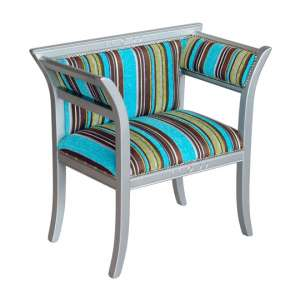 Striped Multicolour Courtiers Chair With Wooden Frame
