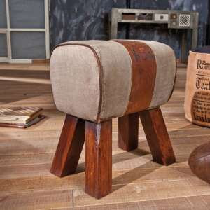 Stromboli Leather Ottoman Stool In Brown With Wooden Legs