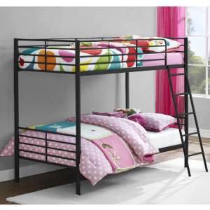 Sturdy Metal Convertible Single Over Single Bunk Bed In Black