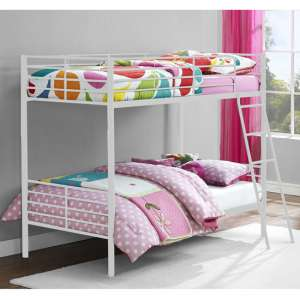 Sturdy Metal Convertible Single Over Single Bunk Bed In White
