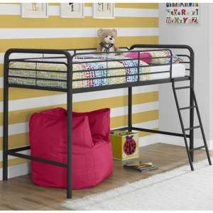 Sturdy Metal Single Midsleeper Bunk Bed In Black