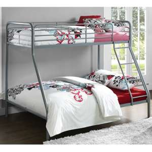 Sturdy Metal Single Over Double Bunk Bed In Grey